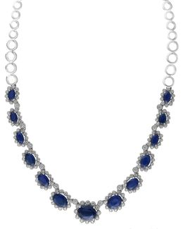 14k White Gold Sapphire Necklace With 0.08 Tcw Diamonds