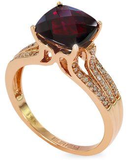 14k Rose Gold Garnet Ring With 0.13 Tcw Diamonds
