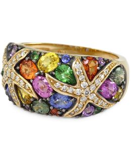Tsavorite Multicolour Sapphire And 14k Yellow Gold Ring With 0.22 Tcw Diamonds