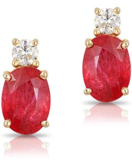 14k Yellow Gold Ruby Earrings With 0.016 Tcw Diamonds