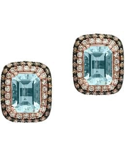 Aquamarine, 0.45 Tcw Brown And White Diamonds 14k Rose Gold Stud Earrings