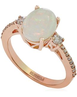 14k Rose Gold Opal Ring With 0.29 Tcw Diamonds