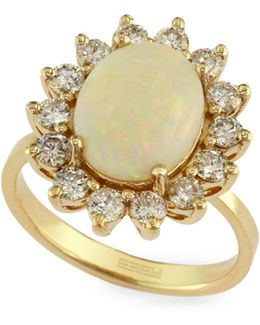 14k Yellow Gold Opal Ring With 0.96 Tcw Diamonds
