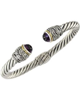 18k Gold Amethyst Bangle
