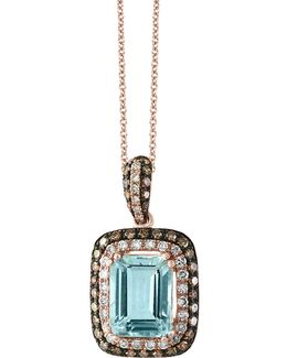 Aquamarine, 0.32 Tcw Brown And White Diamonds 14k Rose Gold Square Pendant Necklace
