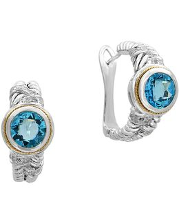 0.16 Tcw Diamond, Blue Topaz, 18k Yellow Gold And Sterling Silver Earrings