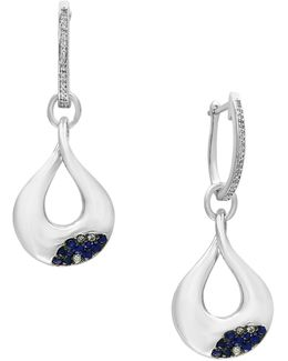 0.13 Tcw Diamonds, Sapphire And Sterling Silver Drop Earrings
