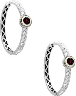 18k Yellow Gold And Sterling Silver Garnet Hoop Earrings