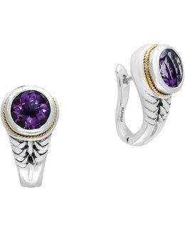 Amethyst, 18k Yellow Gold And Sterling Silver Earrings