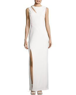 Slit Detail Column Gown