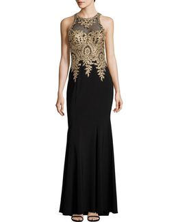 Embellished Illusion Lace Sheath Gown