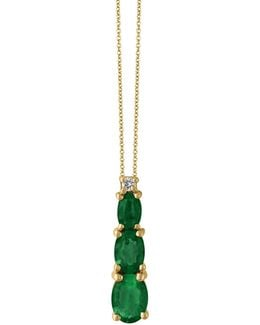Emerald, 14k Yellow Gold And 0.03 Tcw Diamond Pendant Necklace