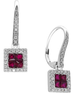 Ruby, 14k White Gold And 0.27 Tcw Diamond Earrings