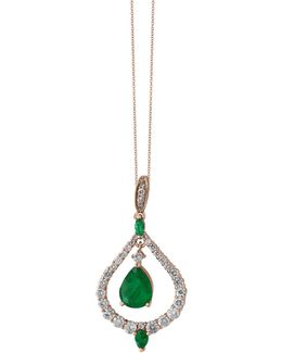 Emerald, 14k Rose Gold And 0.9 Tcw Diamond Nested Teardrop Pendant Necklace