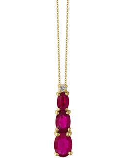 Ruby, 14k Yellow Gold And 0.03 Tcw Diamond Pendant Necklace