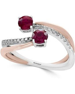 Ruby, 14k White Gold, 14k Rose Gold And 0.14 Tcw Diamond Bypass Ring