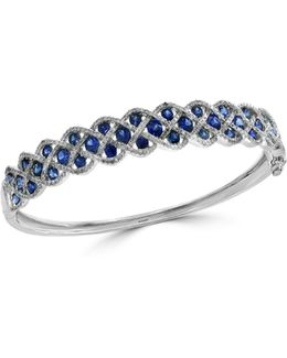 Sapphire, 14k White Gold And 1.06 Tcw Diamond Bangle Bracelet