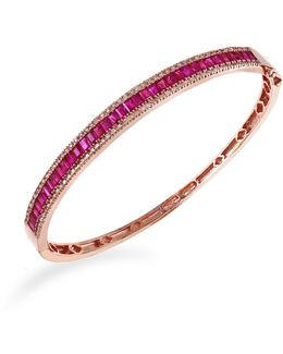 14k Rose Gold Natural Ruby Bangle With 0.46tcw Diamonds