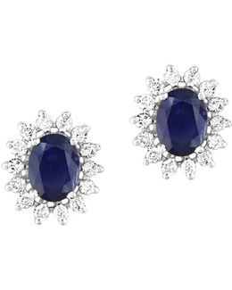 14k White Gold Natural Sapphire Earrings With 0.69tcw Diamonds