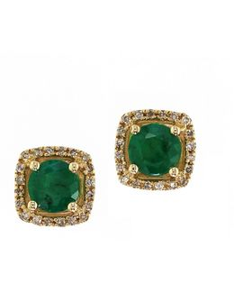 14k Yellow Gold Natural Emerald Earrings With 0.12tcw Diamonds