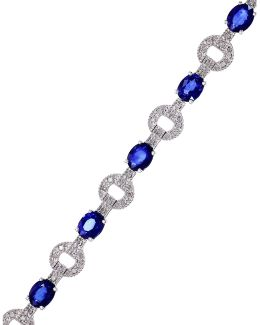 14k White Gold Natural Diffused Ceylon Sapphire Tennis Bracelet With 0.34tcw Diamonds