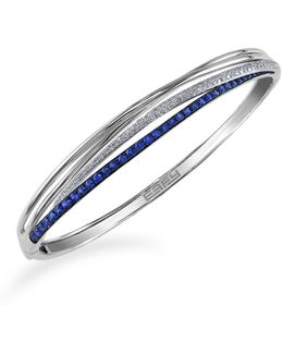 14k White Gold Natural Sapphire Bangle With 0.35tcw Diamonds