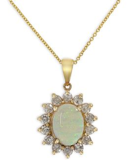 14k Yellow Gold Opal Pendant Necklace With 0.96 Tcw Diamonds