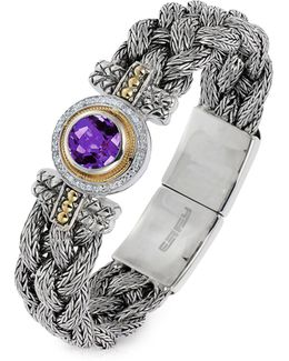 18k Yellow Gold And Sterling Silver Amethyst Tennis Bracelet With 0.18 Tcw Diamonds