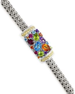 18k Yellow Gold And Sterling Silver Multi Gemstone Tennis Bracelet