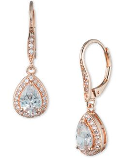 Cubic Zirconia Rose Goldplated Pear Drop Earrings