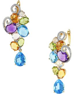 14k Yellow Gold Mixed Semi-precious Stone Earrings With 0.19tcw Diamonds