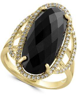 14k Yellow Gold 0.29tcw Diamond Onyx Ring