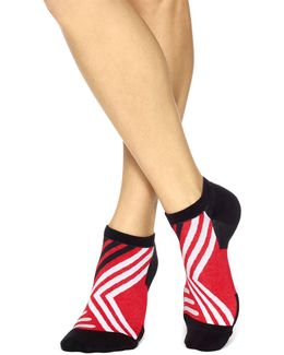 Two-pack Geo Striped No-show With Cushion Socks