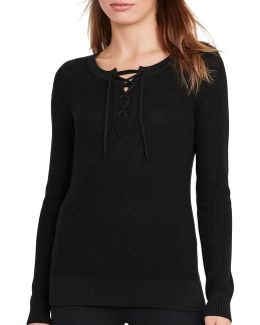 Petite Cotton-blend Lace-up Sweater