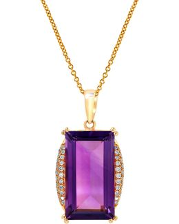 14k Yellow Gold, Rectangular Amethyst Pendant With 0.16tcw Diamond Necklace