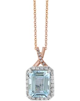14k Rose Gold And 0.22tcw White Diamond And Aquamarine Pendant Necklace