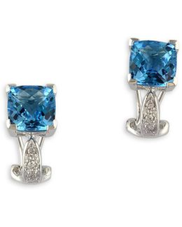 14k White Gold, Blue Topaz Square Drop With 0.05tcw Diamond Earrings