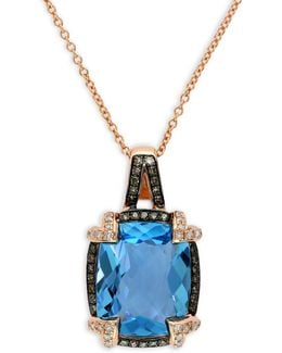 14k Rose Gold, Blue Topaz Framed Pendant With Two-tone 0.25tcw Diamond Necklace