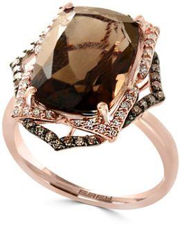 14k Rose Gold Smoky Quartz 0.31tcw Diamond And Brown Diamond Ring