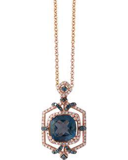 14k Rose Gold 0.6tcw Diamond, Blue Topaz Pendant Necklace