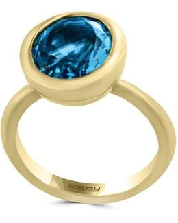 14k Yellow Gold And Blue Topaz Ring