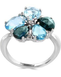 14k White Gold 0.09tcw Diamond Blue Topaz Ring