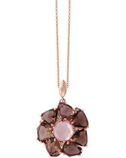 14k Rose Gold 0.07tcw Diamond, Smoky And Pink Quartz Pendant Necklace