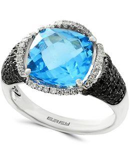 14k White Gold Diamond 0.59tcw Blue Topaz Ring