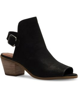 Bray Leather Peep Toe Ankle Boots