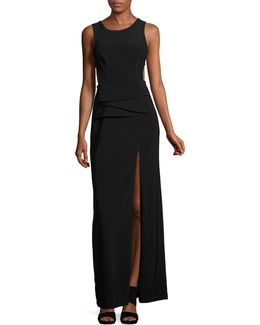 Pleated Front Open Back Gown