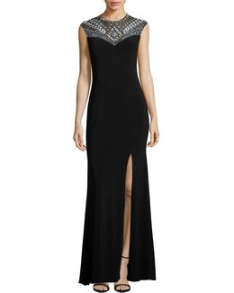 Beaded Illusion Yoke Gown