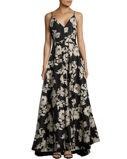 Embroidered Floral Mesh V-neck Gown