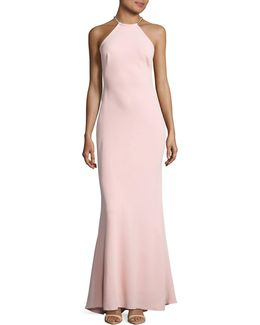 Halter Necklace Sheath Gown