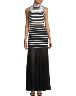 Illusion Stripe High Neck Gown